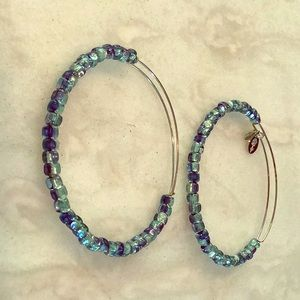 Alex and Ani Blue Beaded Silver Bracelets